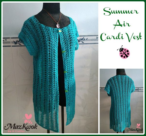 FREE crochet pattern for the Summer Air Cardi Vest by Maz Kwok's Designs.