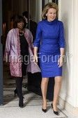 Ertharin Cousin and Queen Mathilde of Belgium pictured during a meeting of the Queen with Ertharin Cousin, Director of the United Nations World Food Programme (WFP), at the royal palace in Brussels, Monday 23 February 2015