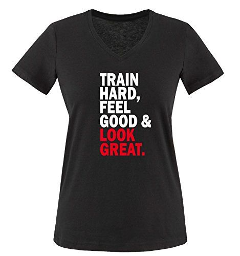 Comedy Shirts - TRAIN HARD & LOOK GREAT - mujer V-Neck T-Shirt camiseta - negro / blanco-rojo tamaño S #camiseta #starwars #marvel #gift