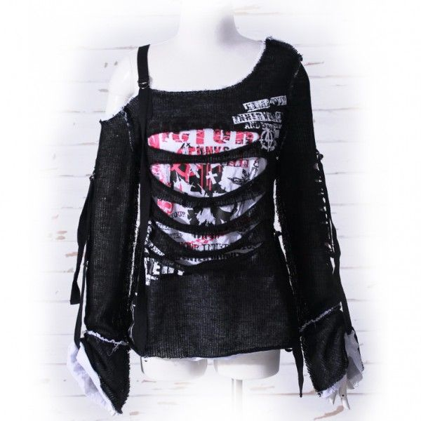 Asymmetrical womens long-sleeve top by gothic clothing brand RQ-BL, black and white with holes and punk not dead print.