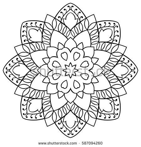 Vector simple mandala with abstract elements, isolated on white background. Oriental ethnic ornament. Design element.