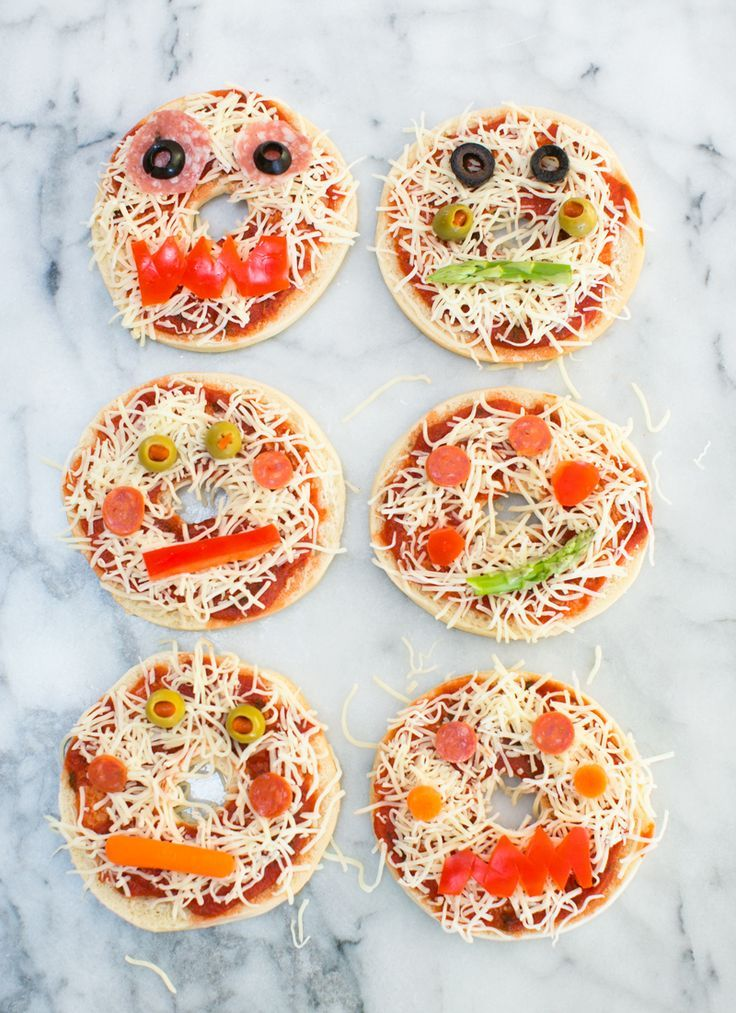 Make your own monster pizza bagels. Cute Halloween snack for kids.