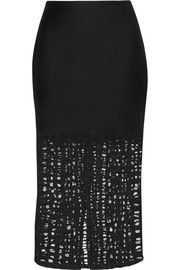 Jason Wu Felted wool-blend and lace skirt
