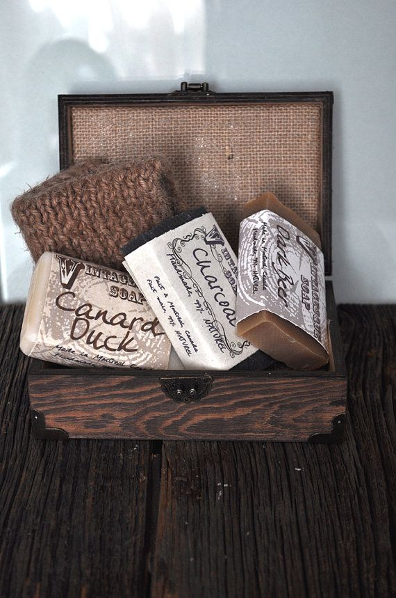 Box set Three soap and one knitted burlap wash by VintagesqueSoap
