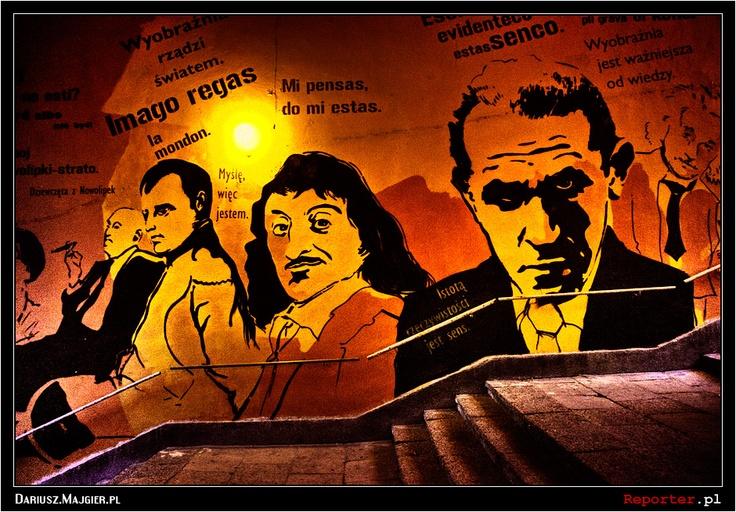 Mural w bramie ul. Nowolipki 4. Autorzy: Adam Walas, Anna Koźbiel. Mural poświęcony twórcy języka esperanto (Ludwik Zamenhof nie jest widoczny na zdjęciu).
