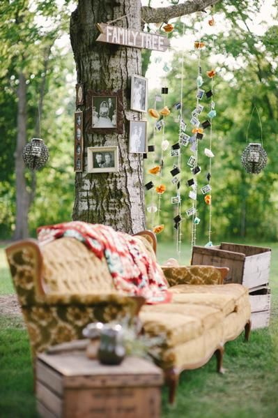 Great idea with family photos in an outdoor wedding. I could do this along the wire fence with fairy lights too,