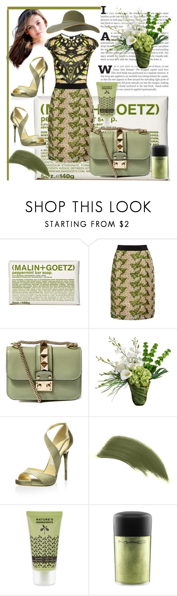 """Green"" by vaslida ❤ liked on Polyvore featuring (MALIN+GOETZ), Almost Famous, Valentino, Allstate Floral, Jimmy Choo, By Terry, MAC Cosmetics and Keds"