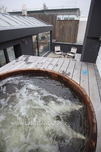 spa en bois ext rieur 6 jets sur toit terrasse d co terrasse et maison. Black Bedroom Furniture Sets. Home Design Ideas