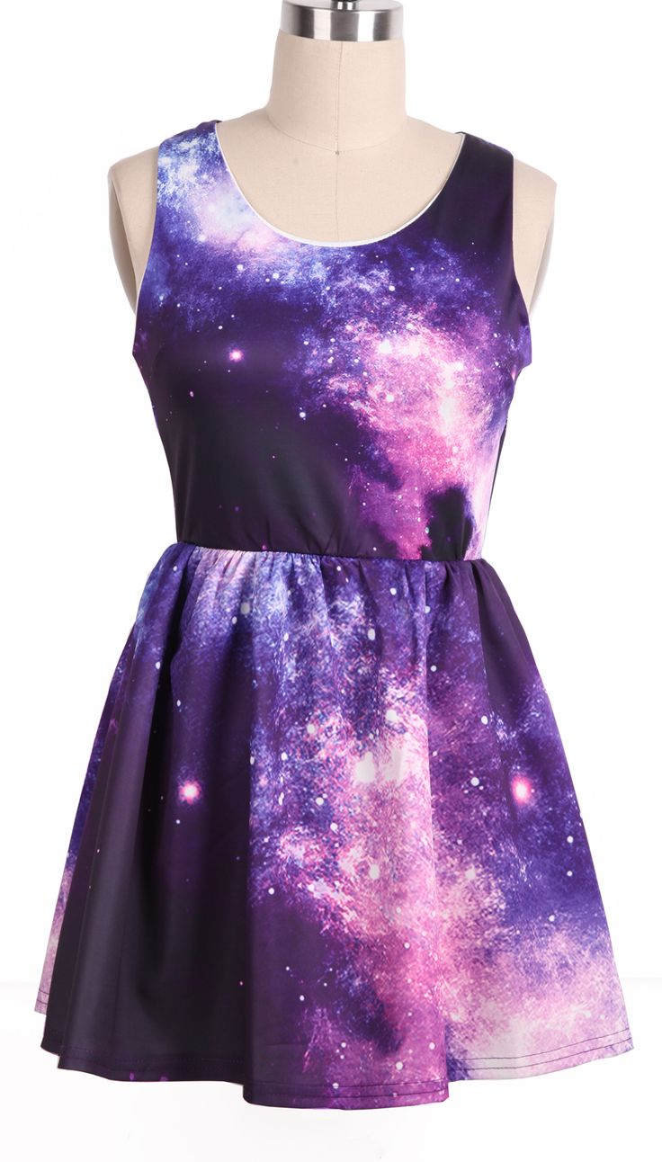 Purple Pink Sleeveless Galaxy Pattern Dress - So cute!!!