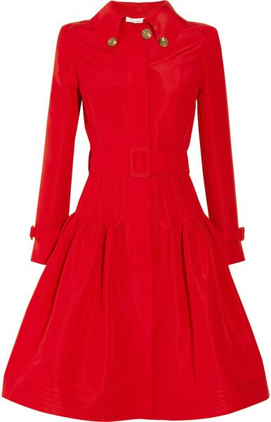 Oscar de la Renta Full Skirted Silk Faille Coat