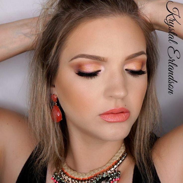 Peaches Makeup Tutorial by Krystal Erlandson. Makeup Geek Duochrome Eyeshadow in I'm Peachless and Mai Tai. Makeup Geek Eyeshadow in Cocoa Bear, Creme Brulee, and Tuscan Sun. Makeup Geek Full Spectrum Eye Pencil in Espresso.
