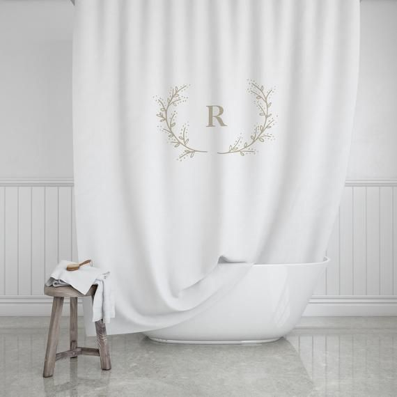 Laurel Branch Monogram Shower Curtain Custom Monogram Bath Curtain