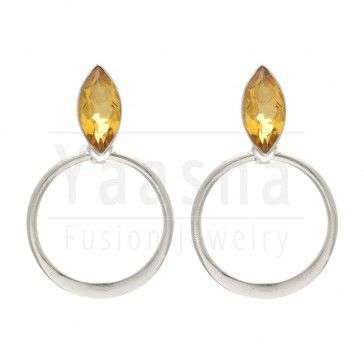 Almond Shaped Citrine Gemstone in a Sterling Silver Frame Danglers | Yaasna Fusion Jewelry