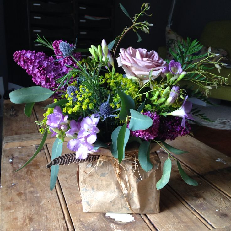 My bohemian inspired flowers in a brown paper bag