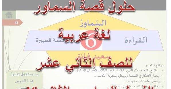 حل قصة السماور لغة عربية للصف الثاني عشر الفصل الدراسي الثاني Pdf موقع التعليم في الامارات ننشر لكم حلول قصة السماور لغة عربية ل Books Education Novelty Sign