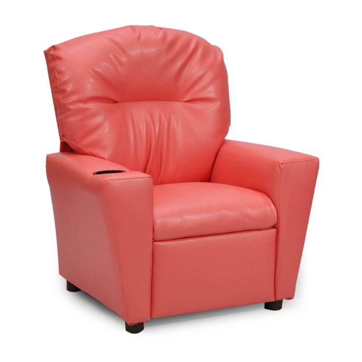 Kidz World Recliner with Cup Holder - Coral Vinyl - 1300-1COV