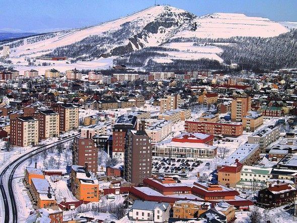 Aerial image of Kiruna, Sweden.