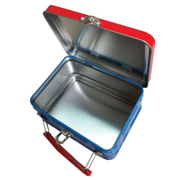 Tin Lunch Box, tin thickness 0.25cm, full imprint your branded logo around the box, with a plastic handle