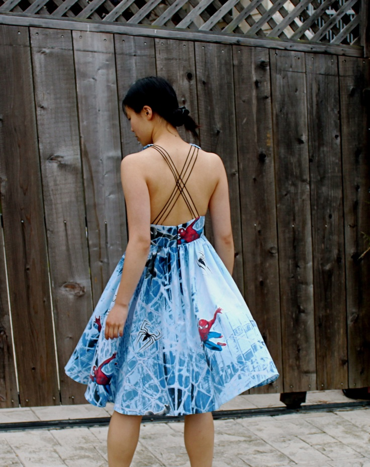 Spiderman Dress from vintage sheets...  Awesome!