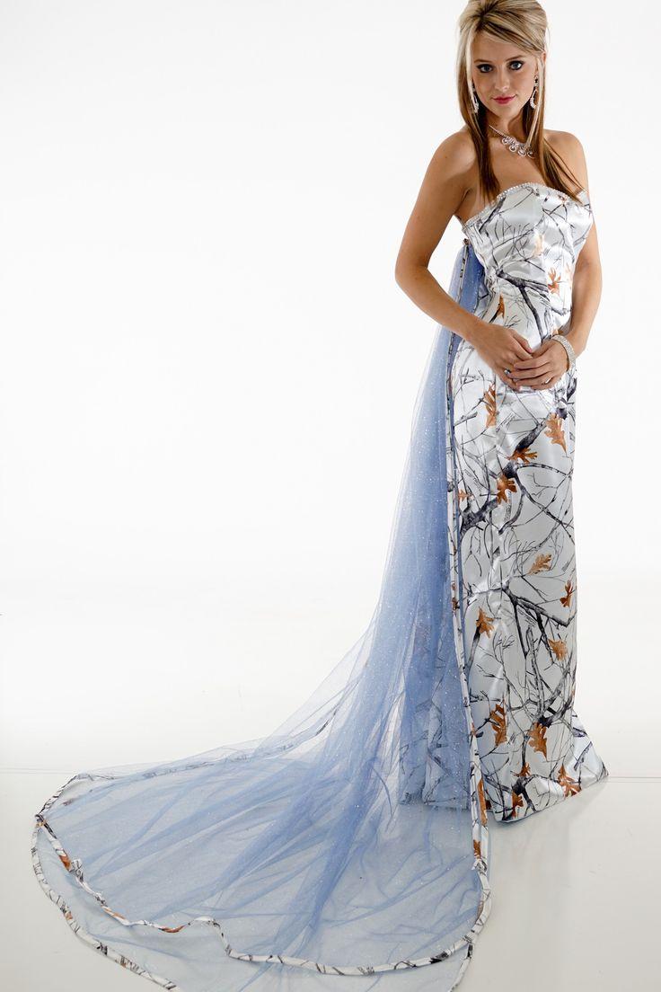 "8072 ""Elsa"" Frozen Camo Princess Dress White Snowfall True Timber and Blue Glitter Net Detachable Train"