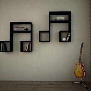 LaSiDo Bookcase - Wall Shelf Black - Decortie- houzz.com: