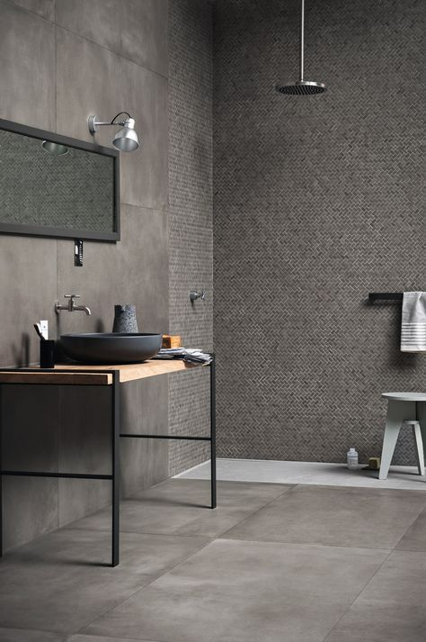 Porcelain stoneware wall / floor tiles with concrete effect POWDER by MA … – Wohnideen – Bathroom