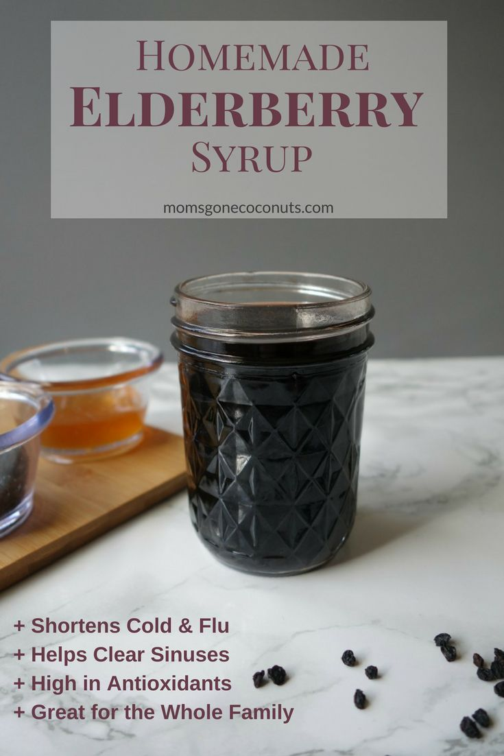Homemade elderberry syrup can benefit the whole family, even babies and kids, this cold and flu season! This easy DIY recipe tastes great and can be taken daily or at the first sign of cold or flu. Natural Remedies for Cold and Flu / Cold and Flu in Children @momsgonecoconuts