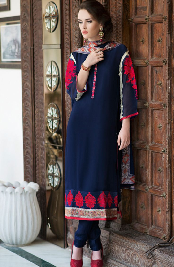 Designed for a woman of taste, this royal blue salwar kameez dupatta set is majestic in every way! Juxtaposing regal prints on the back along with exemplary embroidery work in the front, it will fetch you compliments in every occasion. Made from georgette, this unstitched suit is high on both style and comfort