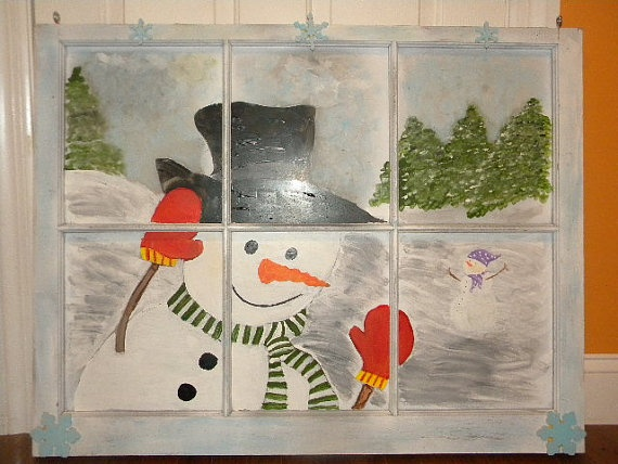 Snowman Peeking In Painted Window Pane by BabyKNursery on Etsy, $125.00