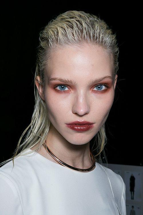 Sasha Luss backstage at Philosophy Fall 2014, burgundy makeup