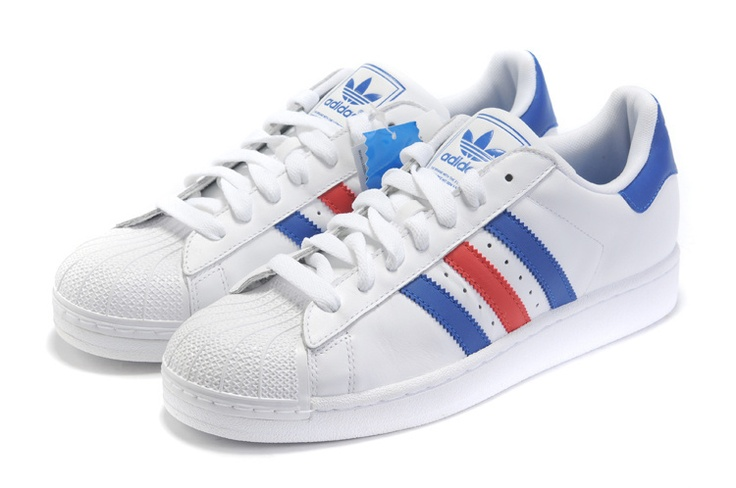 Adidas Superstar II White Red Blue Trainers for Women - just simple