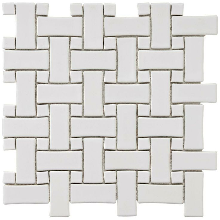 Merola Tile Basket Weave White 9 3 4 In X 9 3 4 In X 5 Mm Porcelain Mosaic Floor And Wall Tile