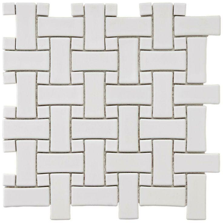 Merola Tile Basket Weave White 9 3 4 In X 9 3 4 In X 5