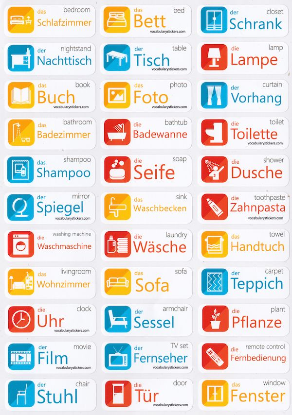 German Vocabulary Learning Stickers