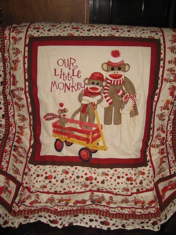 Handmade cot quilt/blanket! https://www.etsy.com/listing/186798941/sock-monkey-our-little-monkey-baby-cot