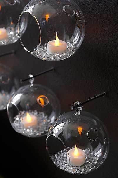 ༻⚜༺ ❤️ ༻⚜༺ Hanging Glass Tea Light Candle Or Flower Holders w/ Crystals | Terrarium Container ༻⚜༺ ❤️ ༻⚜༺