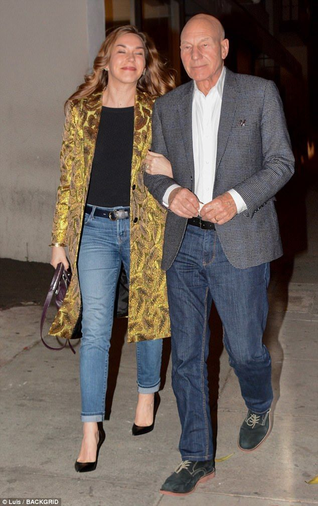 Date night! Patrick Stewart, 77, and wife Sunny Ozell, 39, continued to look every inch th...