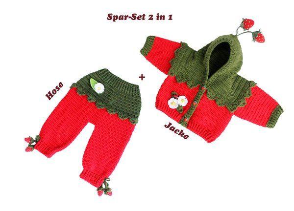 Zwei PDF-Häkelanleitungen bestehen aus bebilderter Anleitung zum Häkeln von Baby- oder Kinderhose für Gr. 50-116 (Neugeboren bis 5-jähriges Kind) und Baby- und Kinderjacke in einem Erdbeerlook. Jacke: Material, Berechnung für die Gr. 56-116, Rücken,