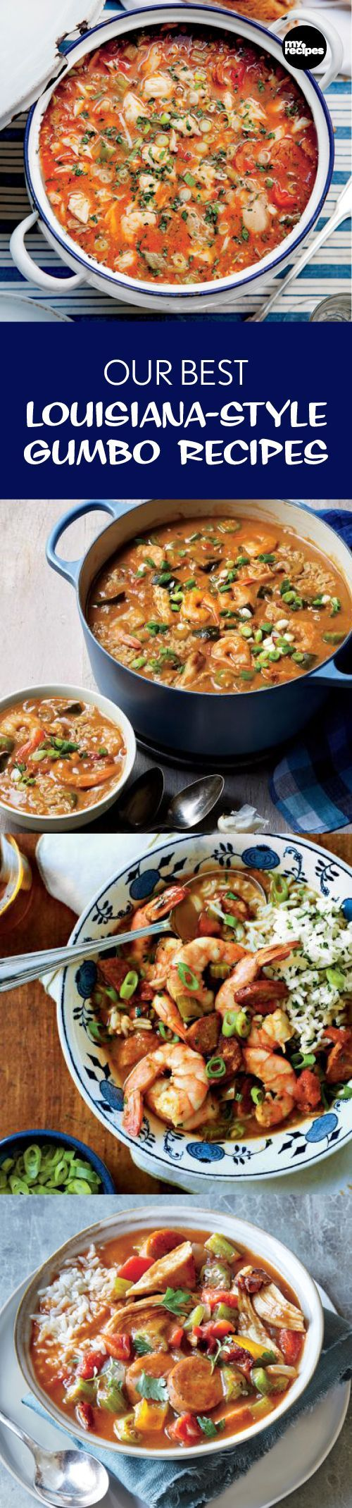 Our Best Louisiana-Style Gumbo Recipes | MyRecipes Whip up a big pot of the good stuff and bring some cajun flair to your neck of the woods with these fantastic down-home gumbo recipes. #chickenfoodrecipes