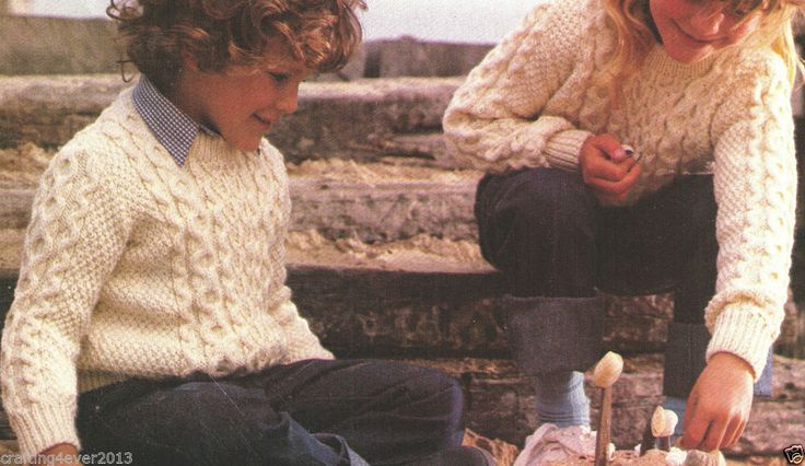 CHILDRENS ARAN STYLE 1980'S WINTER JUMPERS UNISEX 55-65CMS 8PLY KNITTING PATTERN