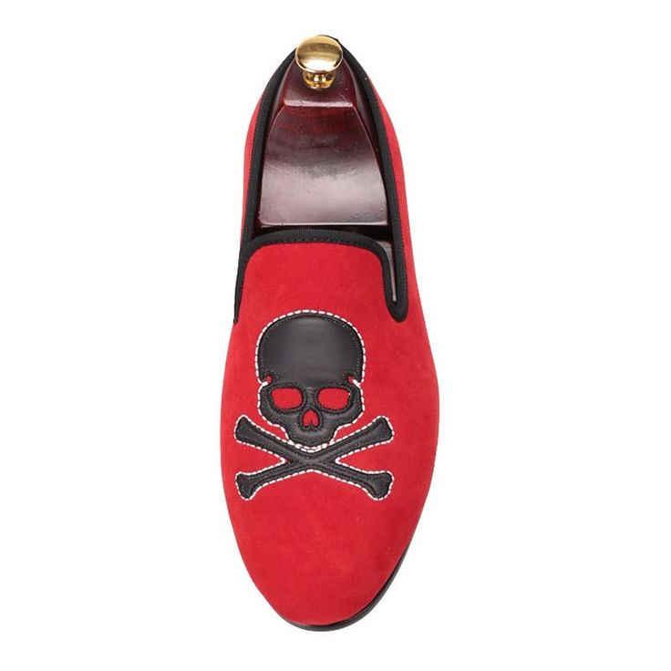 New handmade Red Velvet With Skull Smoking Men's, men boot - Slippers