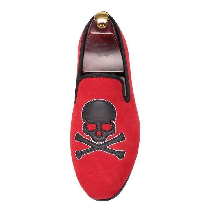 New handmade Red Velvet With Skull Smoking Men's, men boot - Slippers