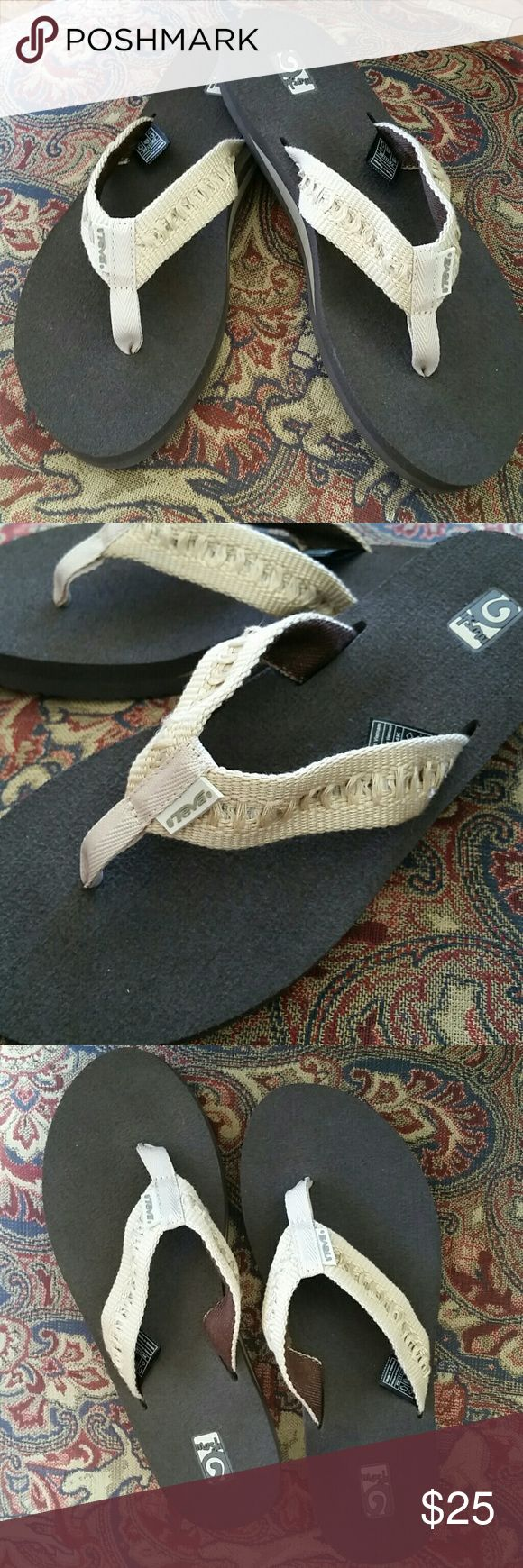 SALE!🌴Teva flip flops🌴 NWOT. NEVER Worn! Beautiful cream colored Teva Mush flip flops. Only selling bc they are too small! These are awesome summer flip flops! Get them before they're gone 🌞 **LOWEST PRICE, no offers accepted unless bundled.** 🚫NO more Low Ball's, I ignore them❗🚫 Teva Shoes Sandals