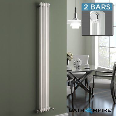 Vertical Radiators | Column Radiators | Tall Radiators - BathEmpire £89.99 ---Width:	200mm Height:	1800mm Distance to Wall / Projection (Min):	124mm Distance to Wall / Projection (Max):	128mm   2168 BTU