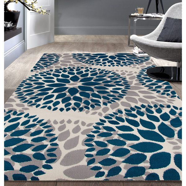 Modern Floral Design Blue Area Rug (5'x7') - actually more turquoise, per reviews :(