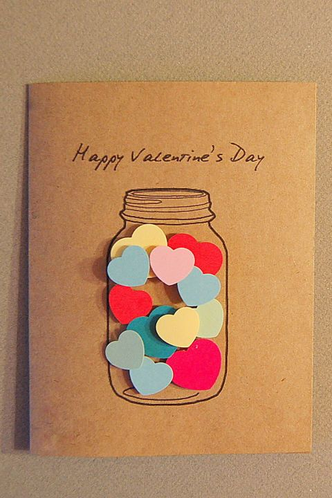 Hearts in a Jar Card:  Simply attach the hearts to the inside of an illustrated Mason jar for a quick but eye-catching Valentine.