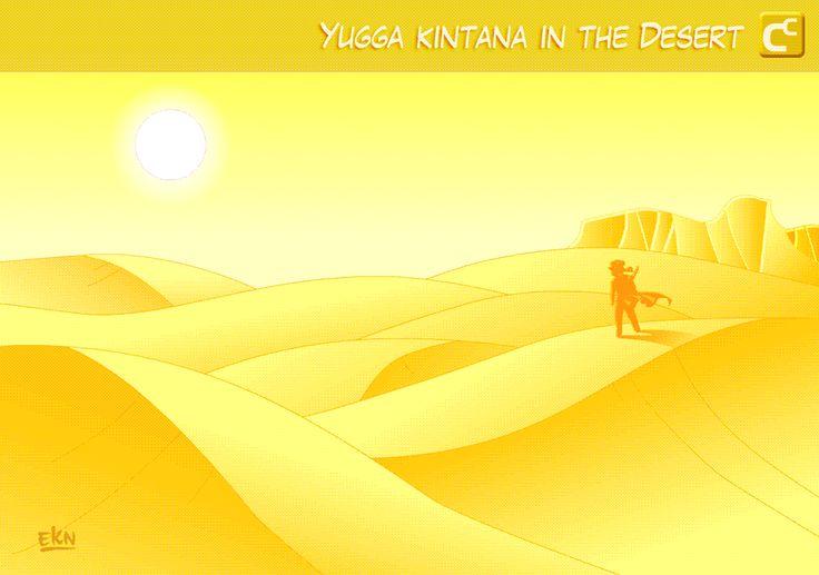 ILUSTRACIÓN: Yugga Kintana caminando en el Desierto [Color Digital] por EKN
