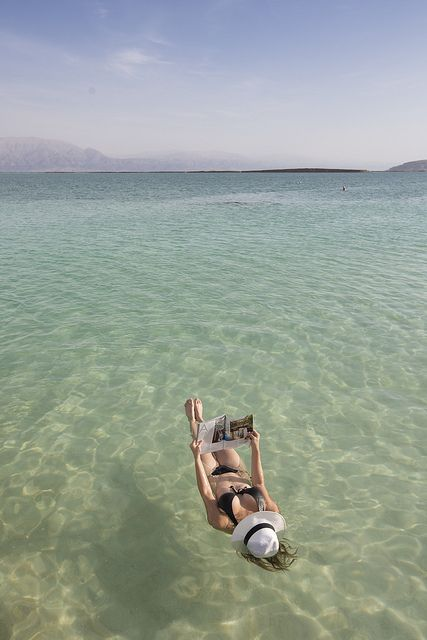 This is where I am going in a month! Relaxing on the Dead Sea - Israel
