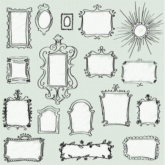 Clip art doodle frames pack set of 17 unique hand for Cool drawing sites