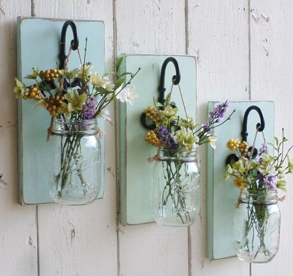 NEW...Rustic Farmhouse... Wood Wall Decor...Individual Hanging Mason Jars...Your Choice of Color